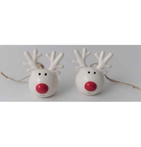 A festive little white ceramic reindeer hanging decoration with a bright red nose