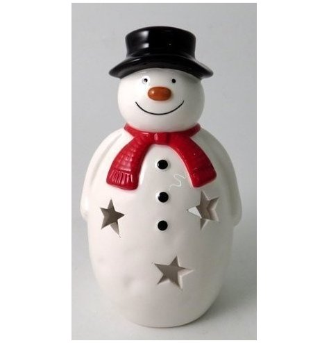 A festive themed ceramic snowman lantern, decorated with a red scarf and star cut decals around him