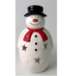 A fun and festive Snowman Tlight Holder with added cut star shapes and a red scarf to complete