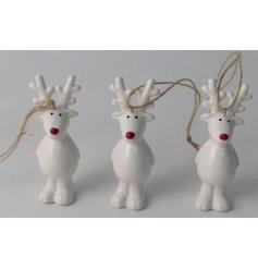 A hanging ceramic reindeer decoration complete with a festive red nose