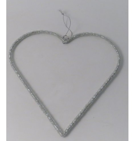 A sliver glitter hanging heart shape. Would work well for window displaying and hanging for the centre of a curtain pole