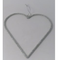 A glitzy inspired hanging heart decoration made up of sparkly bead decals