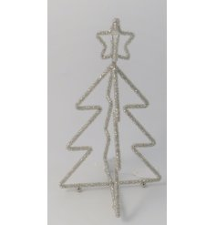 Sure to add a twinkle to any home decor at Christmas, a standing tree decoration made up of glass beads