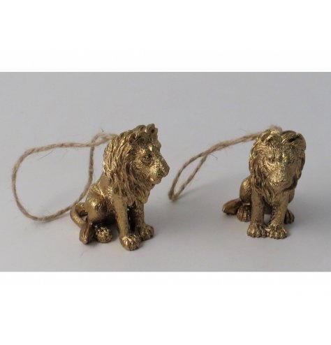 A golden luxe inspired hanging lion decoration set with a distressed charm