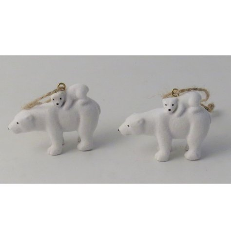 Adorable polar bear and cub hanging decoration with a subtle sprinkling of glitter.