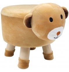 A cute little brown bear themed stool with added protected feet to stop floor scratches