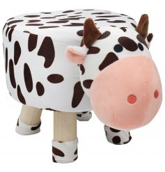 An cute little Cow Themed Stool, a perfect little furniture piece to add to a play room or nursery