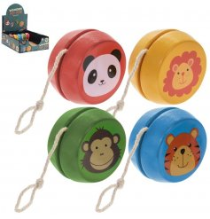 An assortment of Retro Wooden Yoyo toys each with its own animal print