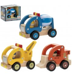 A fun and colourful assortment of wooden vehicles set with a retro theme to each