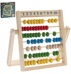 A fun and colourful retro wooden abacus perfect for little ones learning!