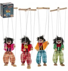 A mix of colourful retro themed wooden puppet toys