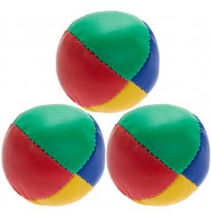 a set of 3 red, blue, green and yellow coloured soft balls, perfect for practicing juggling
