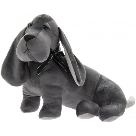 Velveteen Grey Dog Doorstop