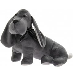 Complete with long floppy ears, this grey velveteen dog doorstop will be sure to place perfectly in any home