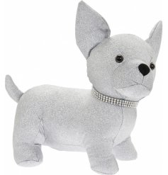 Perfect for adding a sparkly touch to any home space, this silver glittery Chihuahua doorstop also has a bling collar