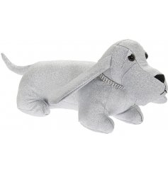 Perfect for adding a sparkly touch to any home space, this silver glittery dog doorstop also has a bling collar