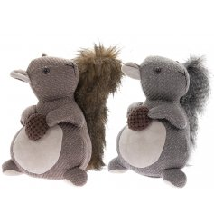 A mix of beige and grey toned squirrel doorstops complete with faux fur trimmings
