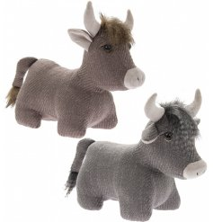 Assorted by their grey and beige tones, these highland cow doorstops also have faux fur trimmings