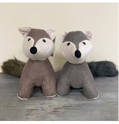Assorted by their grey and beige tones, these woodland fox doorstops also have faux fur trimmings