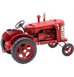 A vintage inspired Tractor in a Red Tone