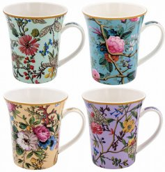 A Set of 4 delightfully printed Fine China Mugs