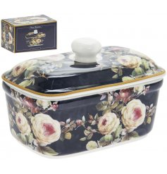 this beautifully decorated butter dish will be sure to place perfectly in any kitchen