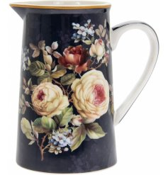 Covered with navy blue hues and subtle blush pinks, this beautifully decorated jug will be sure to place perfectly in an