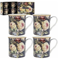 this beautifully decorated set of mugs will be sure to place perfectly in any kitchen