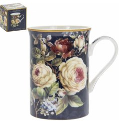 Covered with navy blue hues and subtle blush pinks, this beautifully decorated fine china mug will be sure to place perf