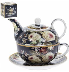 this beautifully decorated fine china Tea For One will be sure to place perfectly in any kitchen