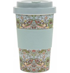 A durable and practical bamboo travel mug with a beautiful Strawberry Thief decal and rubber grip