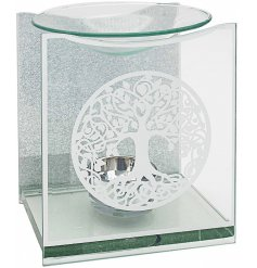 A gorgeous glass oil burner featuring a beautiful tree of life decal and glittery backing