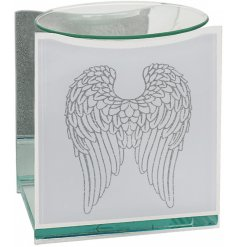 A gorgeous glass oil burner featuring a glittery angel wing decal