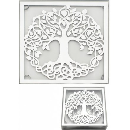 Silver Tree Set of 4 Coasters