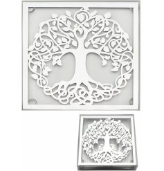 A gorgeous set of Mirrored coasters featuring a beautiful tree of life decal