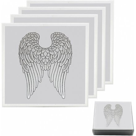 A gorgeous set of Mirrored Coasters featuring a glittery angel wing decal