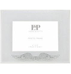A gorgeous Mirrored Picture Frame featuring a glittery angel wing decal