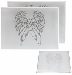 A gorgeous set of Mirrored Placemats featuring a glittery angel wing decal