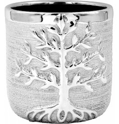 A beautiful Silver Toned Planter featuring a sleek embossed Tree of Life decal