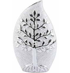 A beautiful Teardrop Shaped Vase featuring a sleek embossed Tree of Life decal