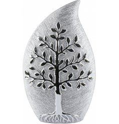 Perfect for displaying beautiful artificial blooms, this decorative Silver Toned Vase features a delicate Tree of Life