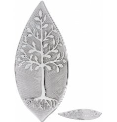A beautiful Leaf Shaped Dish featuring a sleek embossed Tree of Life decal
