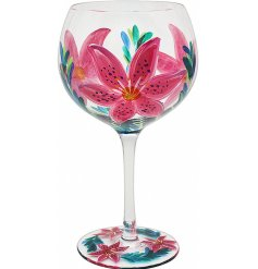 A beautifully decorated Gin Glass with a hand painted touch