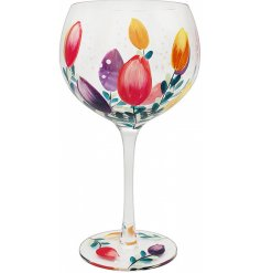 Beautifully hand painted, this Gin Glass features a colourful Tulip decal and matching gift box