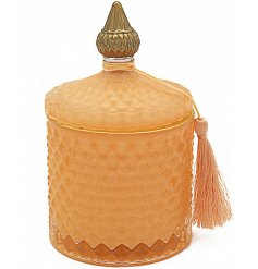 A luxe themed Soy Candle set within a diamond ridge decorated pot with added tassel feature
