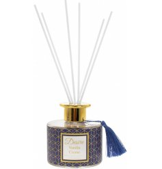 A delightfully scented reed diffuser complete with a royal navy tone tone