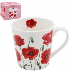 A Fine China Mug featuring a charming Poppy printed decal