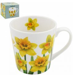 A Fine China Mug featuring a charming Daffodil printed decal