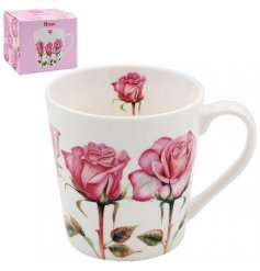 covered with a pretty pink rose print, this fine china mug is complete with a matching gift box