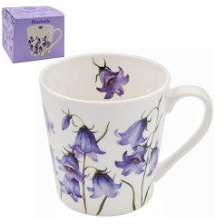 Covered with a sweet array of blue bells , this floral printed mug is complete with a matching gift box